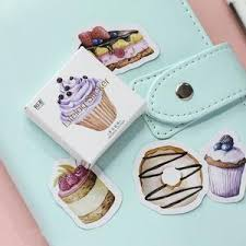 45 Pcslot Happy Birthday Mini Cake Cup Paper Sticker Decoration Diy