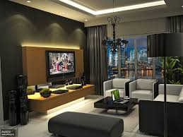 Modern Living Room For Apartment Living Room Black Console Table White Bookcases Gray Sofa Brown