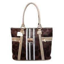 Popular Coach Zip In Signature Medium Coffee Totes Bfh Online PVwyE