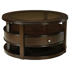 standard furniture spencer round wood and glass top coffee table