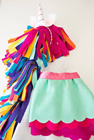 details of the felt skirt and horn below the skirt is optional but adds a colorful touch to the unicorn costume ensemble