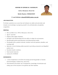 sample resume for nurses. Sample Resume For Registered Nurse In The Philippines Refrence