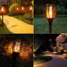 Landscape Lights That Look Like Flames 2 Pack Solar Dancing Flame Light Led Pathway Light Ip65 Waterproof