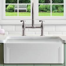 kitchen fascinating fireclay farmhouse sink rectangular shape white finish decorative casement edge front a on