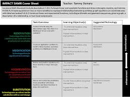 impact samr cover sheet task overviewlearning objective s suggested technology create a tutorial using