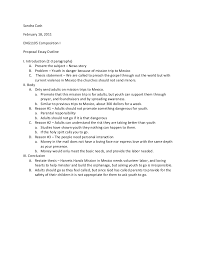 cash proposal essay outline cash proposal essay outline sandra cash 18 2011eng1105 composition iproposal essay outlinei introduction 2 3 paragraphs