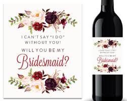 Free Printable Wine Labels Will You Be My Bridesmaid Printable Wine Label Il Fullxfull