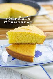 two slices of cornbread stacked on top of each other text overlay grandma s cornbread