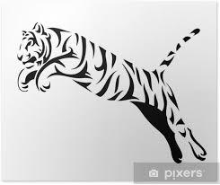 Plakát Tribal Tygr Skok Vektor Tetování