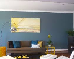 perfect living room blue with blue and yellow walls