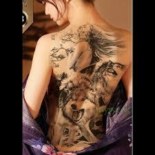 Vodotěsný Dočasné Tetování Nálepka Vlk A Dívka Celá Záda Tetování
