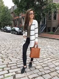 athleisure outfit ideas leggings nike cardigan sweater style