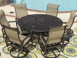 acadia 7 piece sling patio dining set with swivel rockers