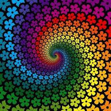 Spiral Design Graphic Design Swirls Of Small Flowers In Rainbow Lines
