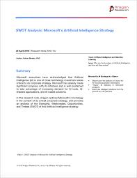 Microsoft Corporate Strategy Swot Analysis Microsofts Artificial Intelligence Strategy