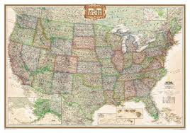 Large Us Map Poster Executive Antique Toned Us Map Large Size National Geographic