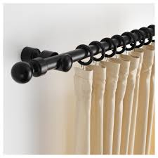 portion curtain rod set black stained length 82 ¾ max load