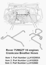 exhaust fumes mg rover org forums these are the thin pipes running across the engine a t piece on the left side here s a diagram
