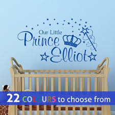 personalised our little prince custom name kids baby boys nursery bedroom playroom wall sticker decal art with crown magic wand and stars  on personalised baby boy wall art with personalised our little prince custom name kids baby boys nursery