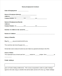 Free 9 Sample Nanny Contract Form Templates In Doc Word