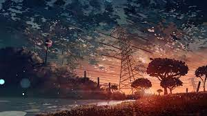 Anime Scenery Sunset 4K Wallpaper #112