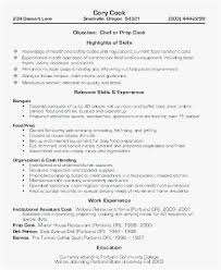 Resume For Cooks New Chef Resume Samples New Sample Cook Resume Line Cook Cover Letter