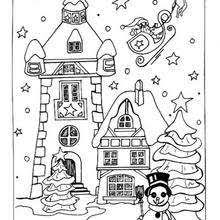 christmas house coloring pages.  Christmas Snowcovered House Christmas Village Coloring Page  Inside House Coloring Pages A