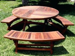garden and patio outdoor round wooden picnic tables with umbrella hole detached benches ideas table childrens