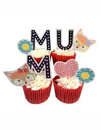 Mum Mam Or Mom Fox Cupcake Toppers Top My Bake Cake Cupcake