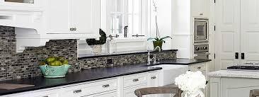 BLACK GRANITE WHITE CABINET GLASS TILE IDEA Backsplash Extraordinary White Cabinets And Backsplash Collection