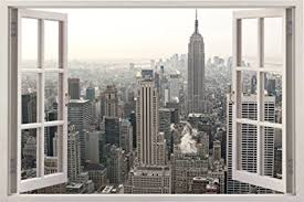realistic new york poster window wall decal peel and stick urban decor for living room on new york skyline wall art stickers with amazon realistic new york poster window wall decal peel and