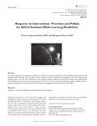 pdf response to intervention promises and pitfalls for gifted students with learning diities