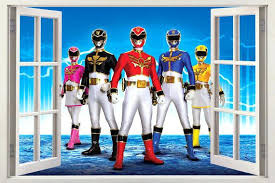 Power Rangers Bedroom Accessories Sets Shower Curtain Ranger Party M¡s Wall  Stickers Uk Inspired