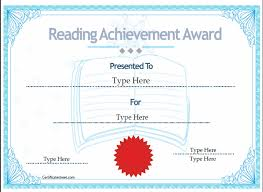 Printable Achievement Certificates Reading Achievement Certificate Template Education Certificates