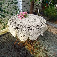 hot crochet flower tablecloth vintage table cover round topper home