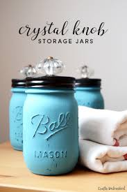 Mason Jar Bathroom Accessories Diy Jars With Decorative Crystal Knobs Crafts Unleashed