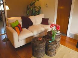 simple living room decoration with eclectic coffee table and sisal rug