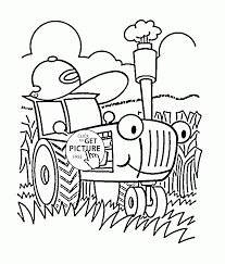 Small Picture Funny Cartoon Tractor coloring page for toddlers transportation