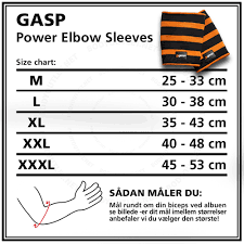 Gasp Clothing Size Chart Elbow Sleeves