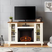 cord media management sei carlinville electric fireplace tv stand antique white w walnut