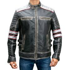 retro style cafe racer mens distressed leather jacket