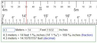 Inches To Tenths Of Feet Chart Convert Meters To Feet Inches Or Reversion Ft In M