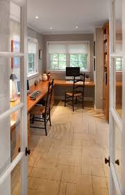 l shaped home office. L-shaped-computer-desk-with-hutch-Home-Office -Traditional-with-built-in-desk-area-built-in-desk-carpeting-french-doors L Shaped Home Office E