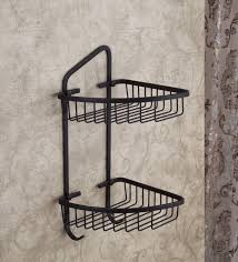 oil rubbed bronze two tier corner shower caddy basket bathroom of amazing deal on rustic wood