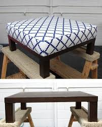 turn a end table into a padded ottoman