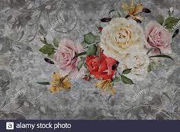 3d wallpaper, roses flower on concrete ...