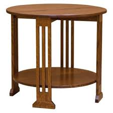30 round amish mission spindle end table w shelf