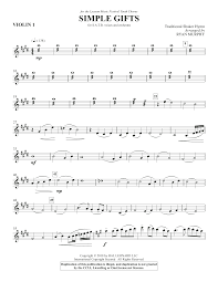 simple gifts violin 1 sheet