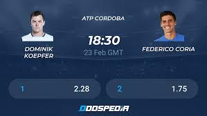 Dominik Koepfer - Federico Coria » Live Score & Stream + Odds, Stats, News