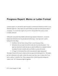 Letter Report Progress Report Memo Or Letter Format